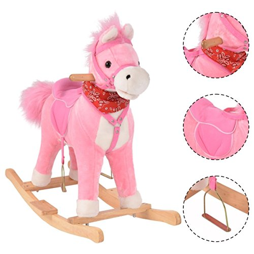 Costway Kids Rocking Horse Baby Nursery Rocker Wooden Sounds Ride on Pony Toy Chair Children Pink