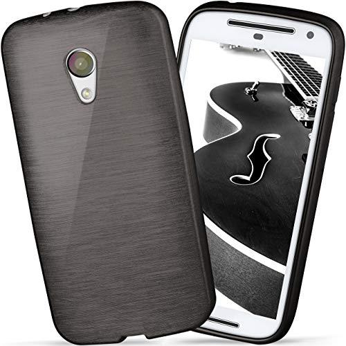 moex Motorola Moto G2 | Hülle Silikon Schwarz Brushed Back-Cover TPU Schutzhülle Ultra-Slim Handyhülle für Motorola Moto G 2. Generation Case Dünn Silikonhülle Rückseite Tasche
