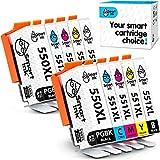 Smart Ink Kompatibel Tintenpatronen für Canon PGI 550XL 550 XL CLI 551XL 551 (2PGBK & 2BK/C/M/Y 10 Multipack) zu verwenden mit PIXMA iX6850 MG5450 MG5650 MX725 MG7550 MG7150 MG6650 MG6450 iP8750 MX925
