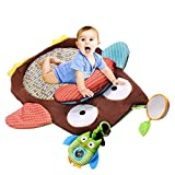 DishyKooker Spielmatte für Babys, 72 x 74 cm, weich, niedlich, mit Rassel, weich, Cartoon-Eule, Tier-Spielmatte, niedlich, 74 cm