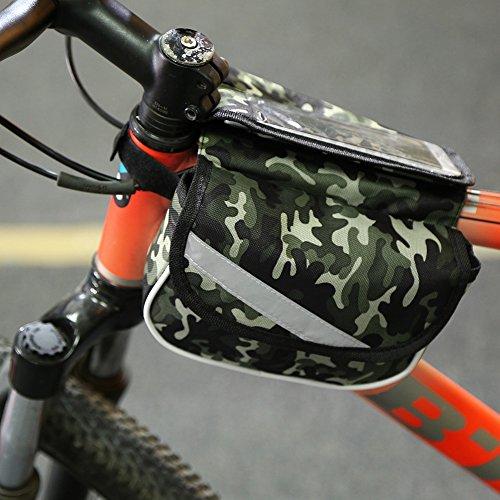 Fahrrad Rahmentasche Fahrradtasche Handyhalter mit 2 Fäche Fahrrad Oberrohrtasche mit 2 Beutel Camouflage Green