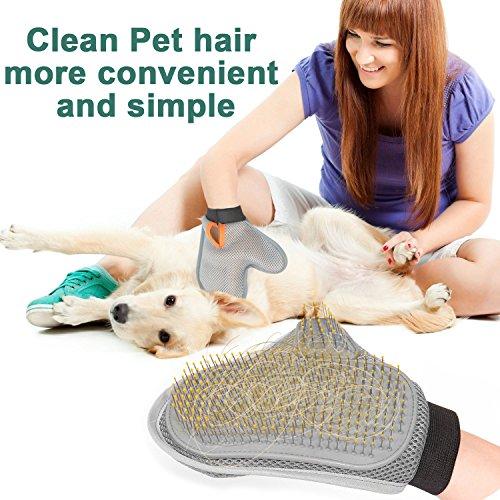 Poppypet Fellpflegehandschuh Bürste für Hunde, Fellpflege Hundebürste, Entfernt lose Haare, massiert Ihren Hund, mit Metall Noppen, Metallborsten, Massagehandschuh - 2