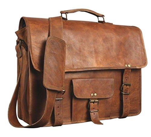 Shakun Leather Bolsa de mensajero en cuero para hombres, maletín, dis