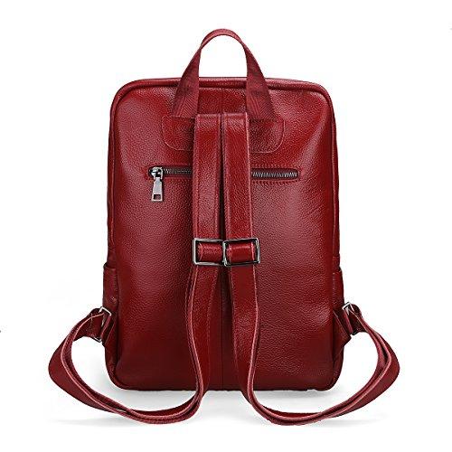 Damero Genuine Leather zaino borsa, sacchetto di scuola Daypack Bag, nero Vino rosso