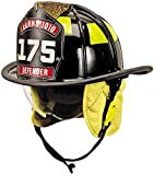 MSA 1010DSB Cairns 1010 Traditional Fiberglass Composite Fire Helmet with Defender, Nomex Earlap, Chinstrap, Quick Release, Postman Slide, Lime/Yellow Reflexite and 6