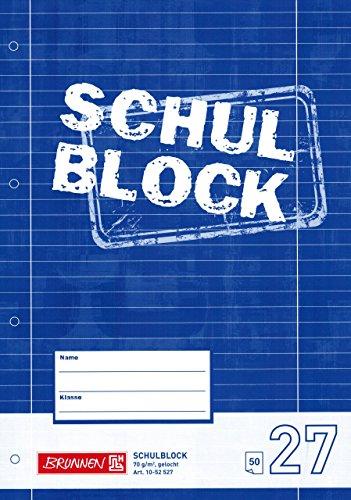 """Schreibblock / Schulblock 27 \""""BRUNNEN\"""" 50 Blatt / A4 - 70g"""