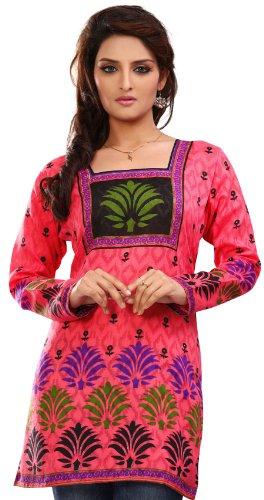 Inde Femmes Tunique Kurti Imprimé Chemisier Indien Vêtements Rose