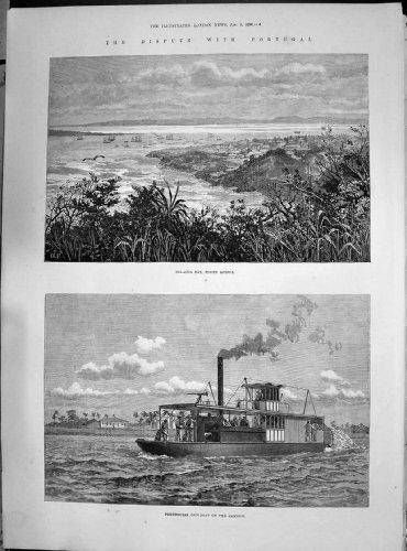 Kanonenboot Delagoa-Bucht-Afrikas Portugal Zambesi Lebhafte Lieferung 1890 Raleighs Majors-Pinto - Afrika Antique Print