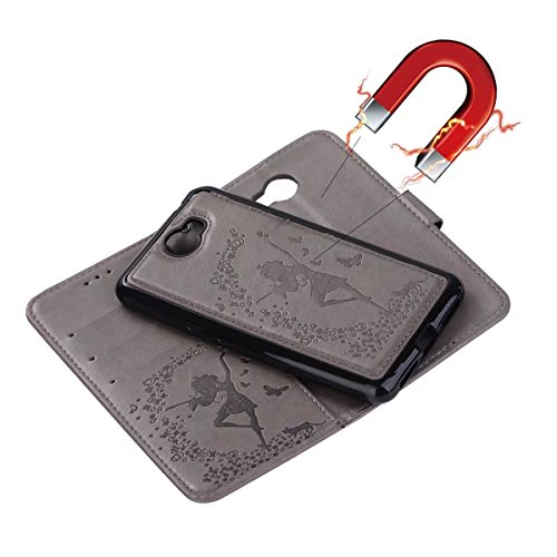 Abnehmbare 2 in 1 Crazy Horse Texture PU Ledertasche, Fairy Girl Embossed Pattern Flip Stand Case Tasche mit Lanyard & Card Cash Slots für Huawei Y5 II (2. Generation) ( Color : Red ) Gray