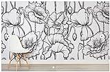 Yosot Floral Personnalisé Illustré En Noir Et Blanc Fleurs Pour Salon Tv 3D Papier Peint-200Cmx140Cm