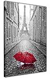 CANVAS IT UP Schwarz und Weiß Paris Eiffelturm Foto mit Rot Regenschirm Kunstdruck auf Leinwand Home Dekoration Art Wand Größe: A2–61x 40,6cm (60cm x 40cm)
