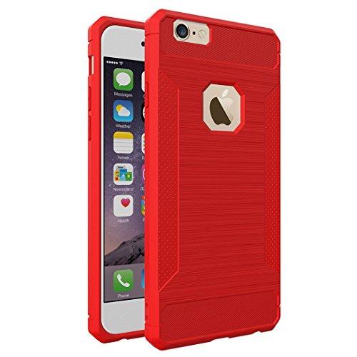 Custodia per iPhone 6,per iPhone 6S Cover, ZCRO Semplice Stile Flessibile Custodia Silicone Carbonio Antiscivolo TPU Gomma Morbida Bumper Protettiva Antiurto Resistente Case Cover per iPhone 6/6S 4.7  Rosso