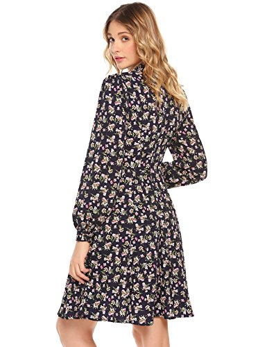 Zeela Damen Langarm Blumen Kleid Knielang Geblümtes Kleid mit Muster ...