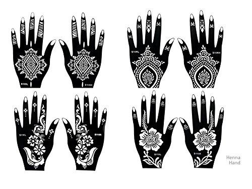 8 Feuilles Mehndi Tatouage Pochoir pour la main Mehndi Tatouages au henné Set 1 à usage unique - pour tatouage au henné, tatouage paillettes et aérographe tatouage