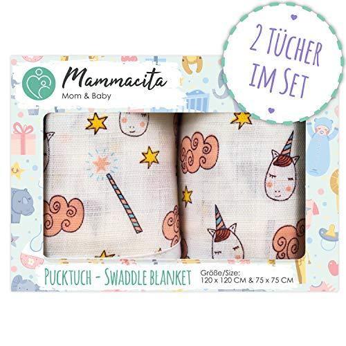 Baby Pucktuch 2er Set - Swaddle Blanket aus 100% zertifizierter Baumwolle -Musselin Puckdecke mit Einhörnern -ideal als Baby-decke, Stilltuch, Spucktuch, Babytragetuch -2 Stück (120x120 cm + 75x75 cm)