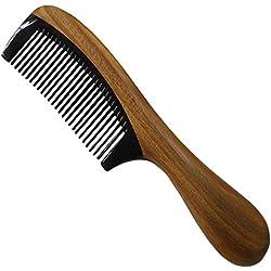 Vococal - Peine de Cuerno de Búfalo empalme madera Sándalo con manija redonda ,Negro