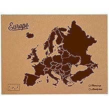 Miss Wood Woody Map L - Mapa del mundo de corcho con diseño Europa , color marrón