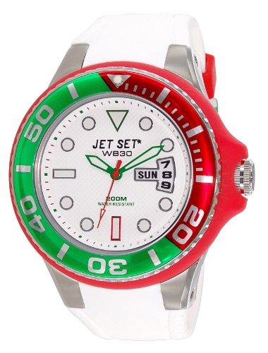 Jet Set J55223-15 - Reloj analógico de cuarzo para hombre con correa de caucho, color blanco