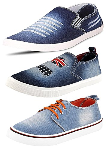 Ethics Top Quality Men's Combo Pack of 3 Denim Loafer Shoes for...