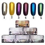 Hosaire 6 Cajas espejo del polvo del brillo del arte del clavo del polvo del brillo cromo pigmento manicura