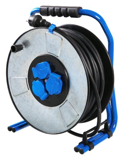 AS-SCHWABE 10723 PROFESSIONNEL H07RN-F 3G2 5 - ENROLLADOR DE CABLE DE METAL (285 MM DE DIAMETRO  33 M  IP44  PARA OBRAS)  COLOR NEGRO