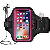 iPhone X/XS Brassard, JEMACHE Gym Course/Exercice/Entraînement Sport Arm Band Coque pour iPhone X/XS avec Poches pour Carte et clé (Rose)