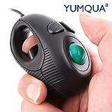 USB Mini Maus mit Trackball, YUMQUA Trackball Mouse in hand mini USB Trackball Maus Finger Hand Gehalten 4D Tragbare Maus-schwarz