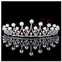 Santfe 1.7' High Bridal Wedding Pearl CZ Hair Tiaras Pageant Prom Prom Cubic Zirconia Crown