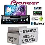 Mercedes A-Klasse W169 Audio 5 - Autoradio Radio Pioneer SPH-10BT - Smartphone Empfänger mit Bluetooth   Spotify   Android   iPhone   4x50Watt Einbauzubehör - Einbauset