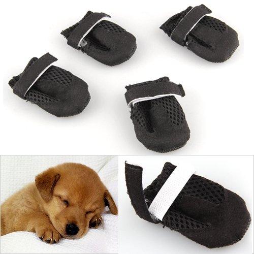 4pces Zapatos Botas Botines Agujeros Mascota Perro Negro S