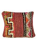 Poufs&Pillows Housse de Coussin berbère carré - Fait Main - Oreiller Laine et Coton 33x33 cm