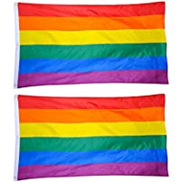 toymytoy 2Rainbow Flagge 3x 5ft Polyester Pride LGBT Banner Flagge mit Messing Tüllen