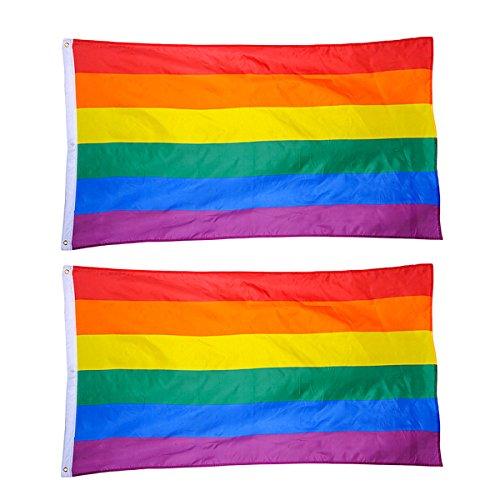 BESTOYARD Rainbow Pride Gay Flag 3 x 5ft LGBT Flags Party Decorations for Parades Rainbow Festival