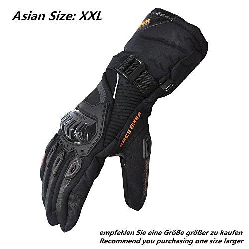 Motorrad Handschuhe Winter Warm Handschuhe Touch Screen Wasserdicht Winddicht Sporthandschuhe ( XXL,Schwarz)