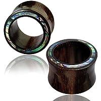 Chic-Net abalone paua shell legno di tamarindo Rim Unisex orecchini gioielli orecchio spina tunnel intagliato a mano 08 millimetri