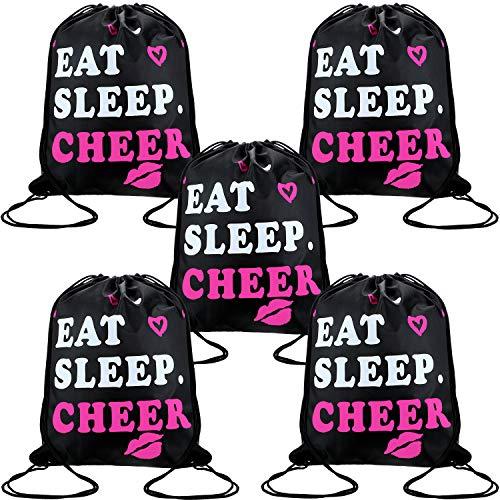 5 Stück Cheerleading Kordelzug Gym Tasche Jubeln Schwarz Kordelzug Beutel Essen Schlafen Jubeln Kordelzug für Jugend Sport Geschenk, 13,4 x 16,9 Zoll -