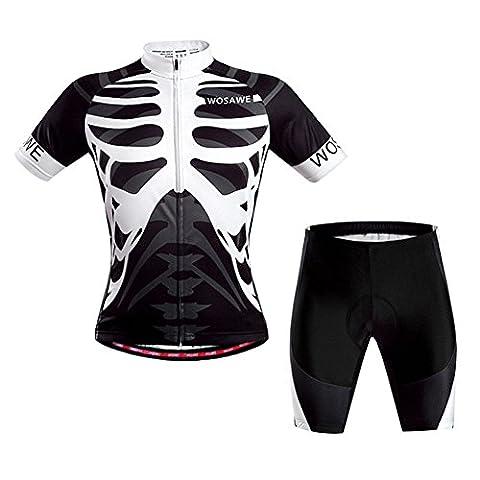 West Biking Men Cycling Clothing Suit Bike Print skeleton Design Jecket Bicycle Proof-UV Jerseys 3D Cushion Padded Shorts Tights Capri -White And Black