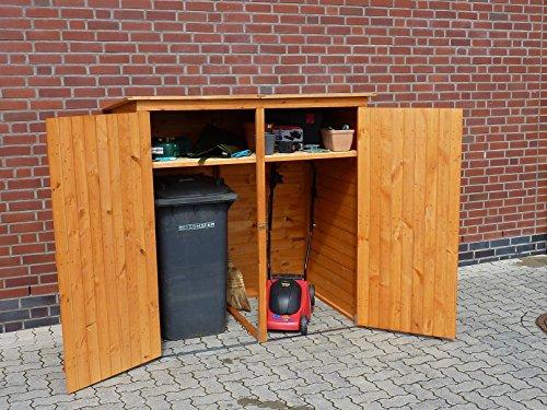Mülltonnenbox BQ2 für 2 Tonnen in Holz, Farbe Honigbraun - 2