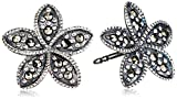 Element Silver E3620 Ladies' Marcasite Plumeria Stud Sterling Silver Earrings