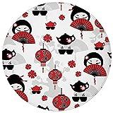 Round Rug Mat Carpet,Lantern,Geisha Japanese Fan Ancient Chinese Traditional Tea Pot Lanterns Floral Graphic Design Decorative,Black Red,Flannel Microfiber Non-slip Soft Absorbent,for Kitchen Floor Ba