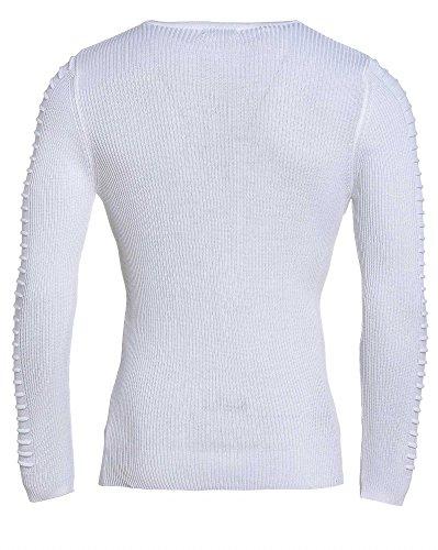 BLZ jeans - Pull blanc moulant homme à coutures Blanc