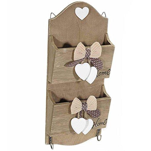 Porta lettere in legno con 2 ganci chiave e inserti a cuore. 00086 CHIAVI SHABBY