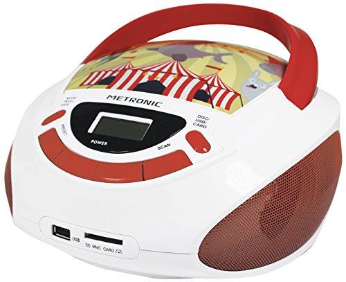 Metronic Radio/CD-Player für Kinder, Ozean, mit USB-/SD-/AUX-IN-Port Rot/Weiß