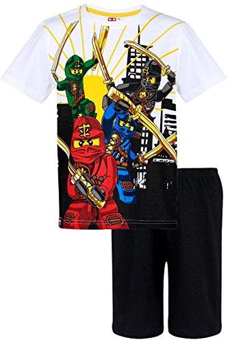 Lego Ninjago Schlafanzug Kollektion 2018 Pyjama 104 110 116 122 128 134 140 Shorty Shortie Jungen Neu Top Weiß-Schwarz (Weiß-Schwarz, 104)