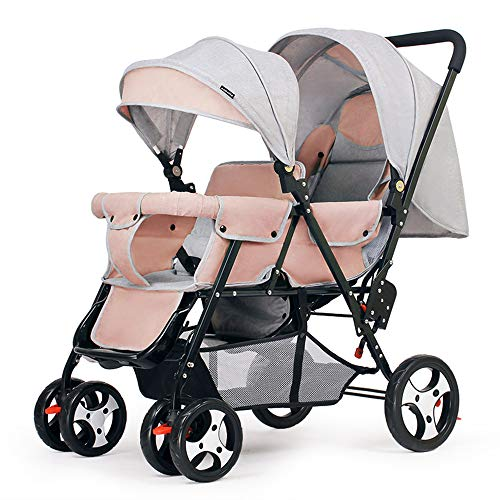 Saturey Kompakter Kinderwagen für 2, Geschwisterwagen Zwillingsbuggy, Doppelkinderwagen für Kleinkinder und Zwillingskinderwagen Verstellbare Rückenlehne Fußstütze 5 Punkte Sicherheitsgurte,Pink