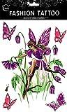 Neueste neues Design und heiße verkaufende realistische Tattoo-Aufkleber Große Design Schmetterling Engel mit bunten Schmetterlingen und Blumen realistisch Tattoo-Aufkleber Frauen für Brust, Bauch, Rücken, Bein, etc.