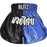 Blitz Muay Thai Pantalones Cortos, Infantil, Azul y Negro, 12-13 años