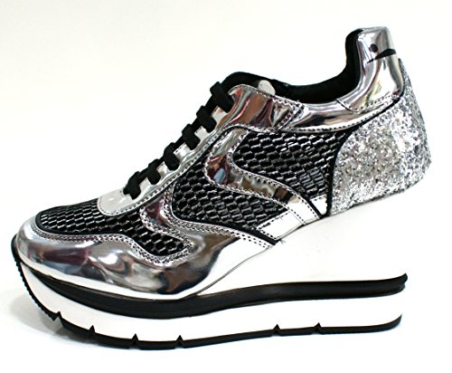 Voile Blanche Sneaker Donna Jessie Zeppa Rialzo Cm 9 Nero Argento-38