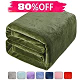 Fleece Bed Blanket Super Soft Warm Fuzzy Velvet Plush Throw Lightweight Cozy Couch Twin/Queen/King Size (Queen(90 by 90 luches), Green)