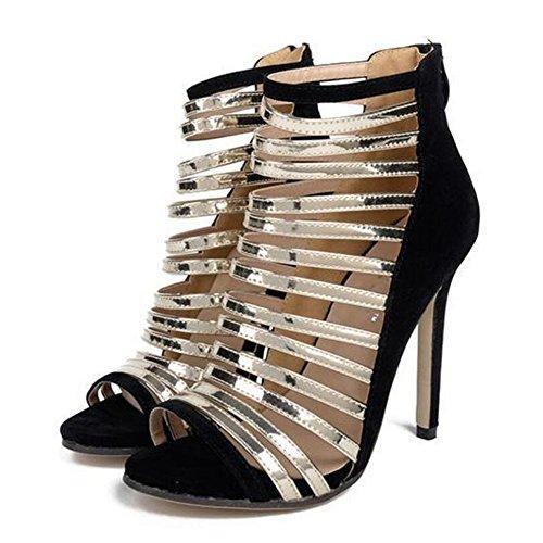 Chaussures pour femmes PU découpe sangle romaine chaussures talons hauts correspondant sandales Party & soirée noir abricot GAOLIXIA